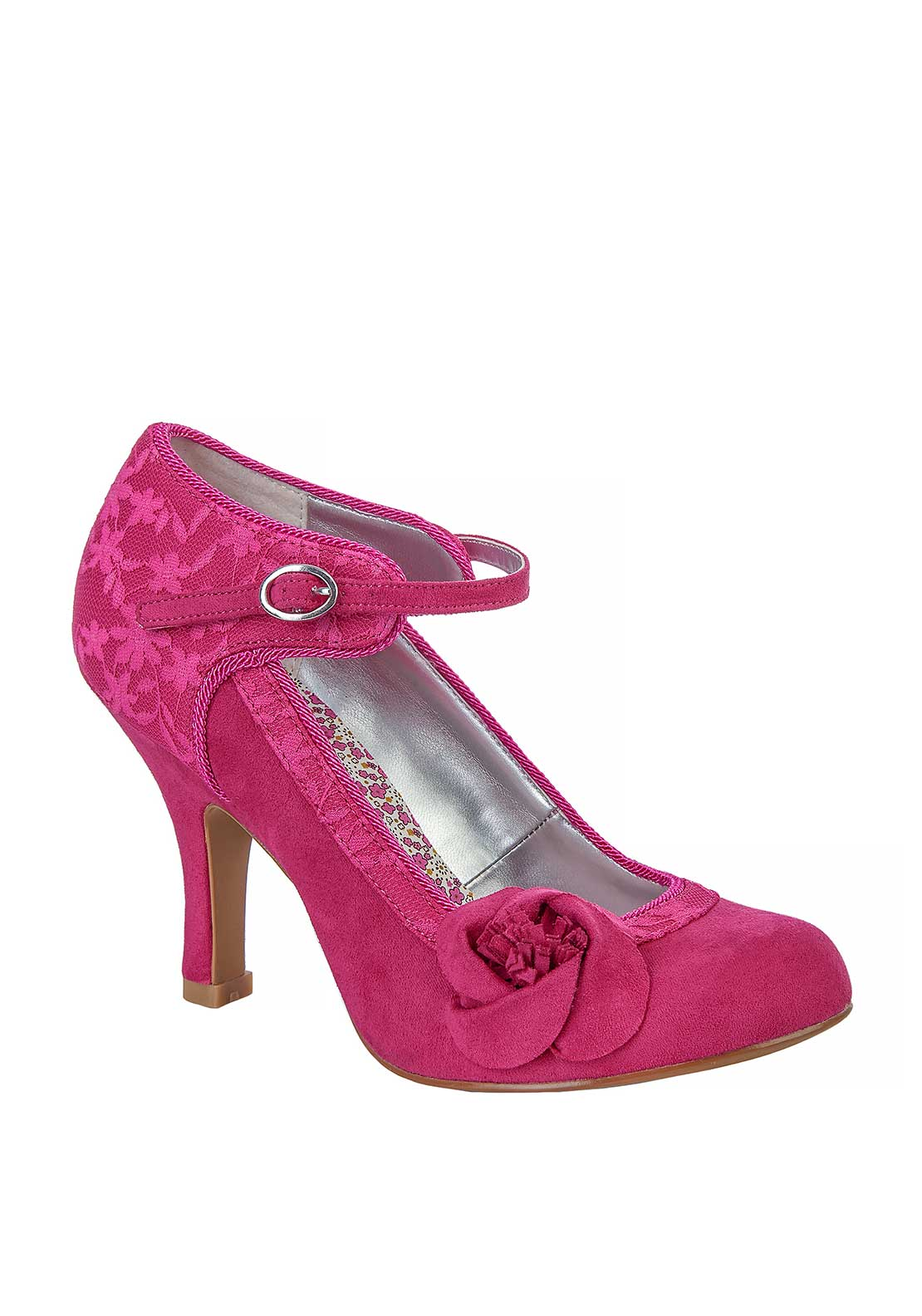Ruby Shoo Anna Flower Ankle Strap Heeled Shoes, Fuchsia