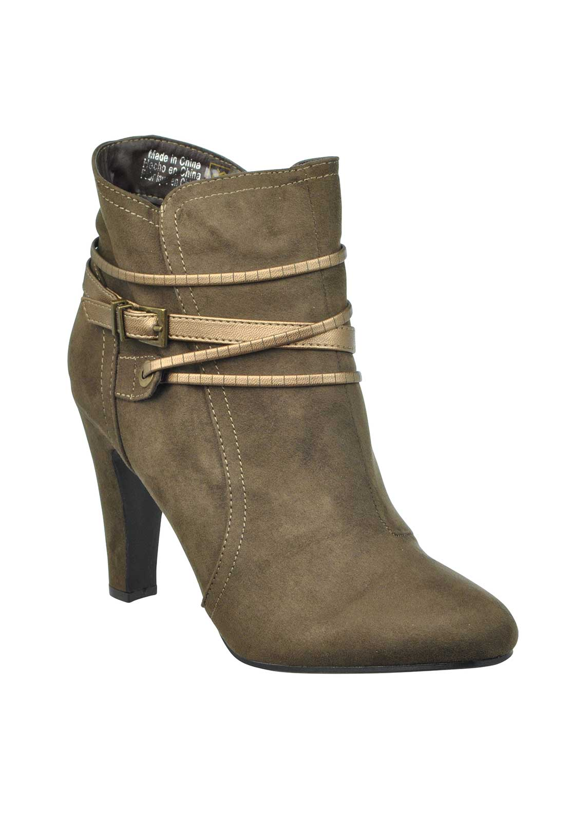 Boutique Faux Suede Ankle Strap Pointed Toe Heeled Ankle Boots, Taupe