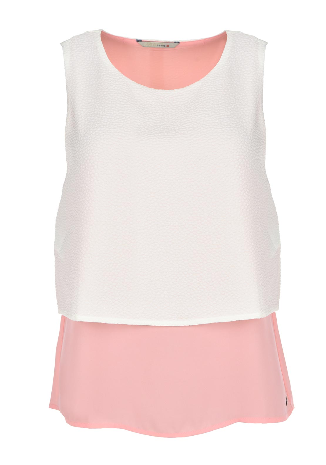 Tiffosi Embossed 2-in-1 Sleeveless Top, Pink and Cream