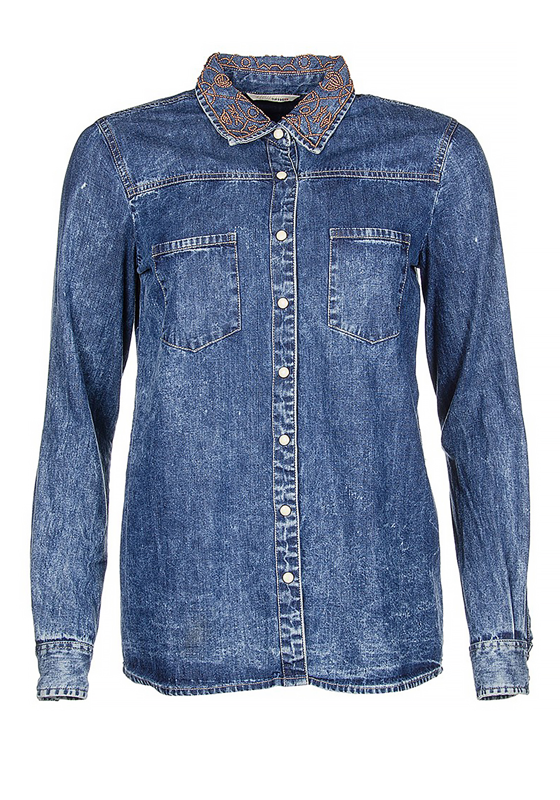 Tiffosi Jenna Bead Embellished Denim Shirt, Blue