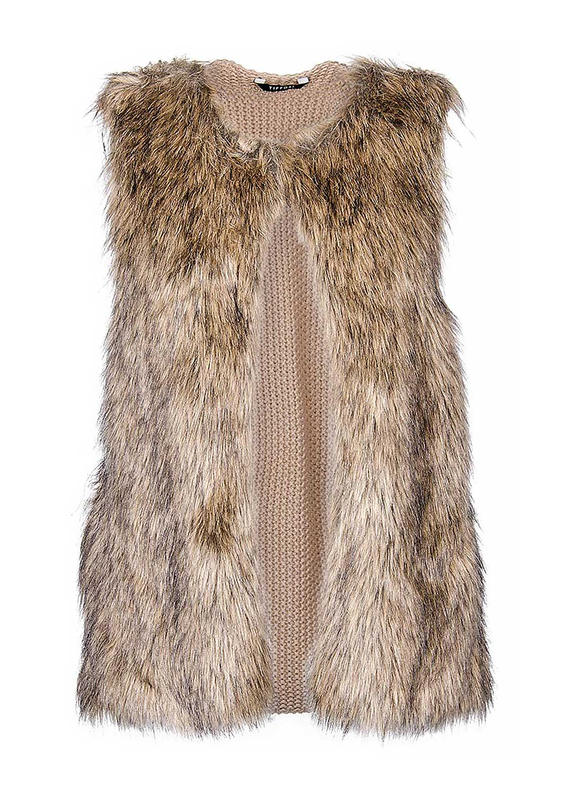 Tiffosi Yvonne Faux Fur Knitted Back Gilet, Brown