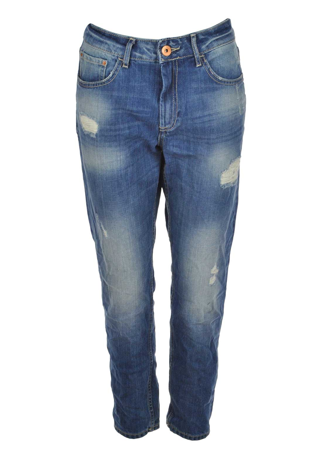 Tiffosi Mom 2 Ripped Straight Leg Jeans, Light Blue Denim