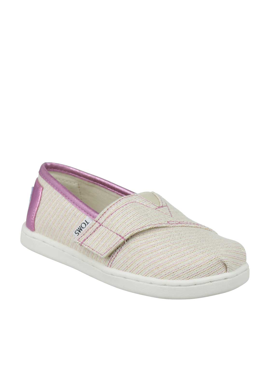 TOMS Tiny Classics Baby Girls Glitter Velcro Canvas Shoes, Beige and Pink