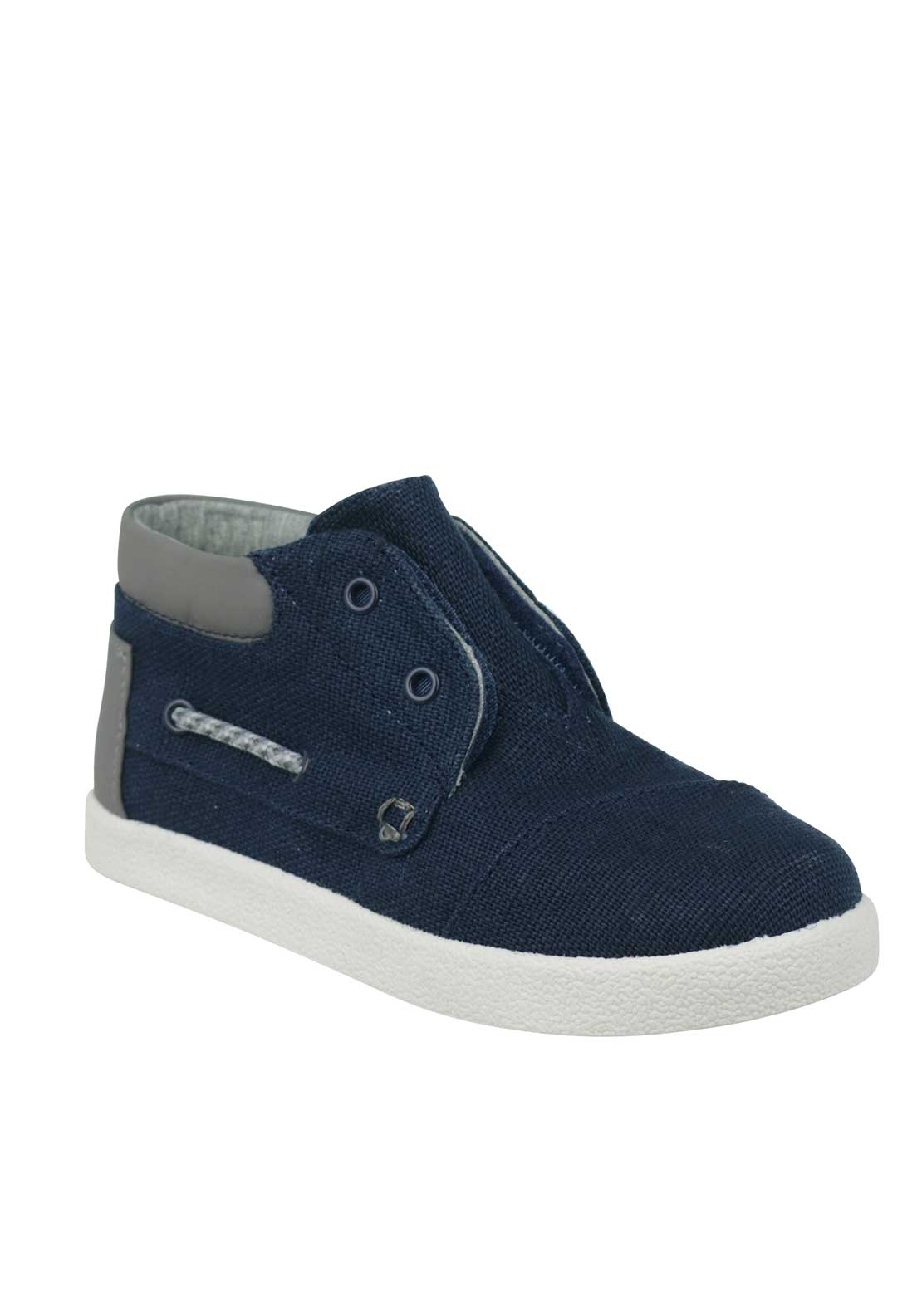 TOMS Velcro Hi Top Canvas Trainers, Navy
