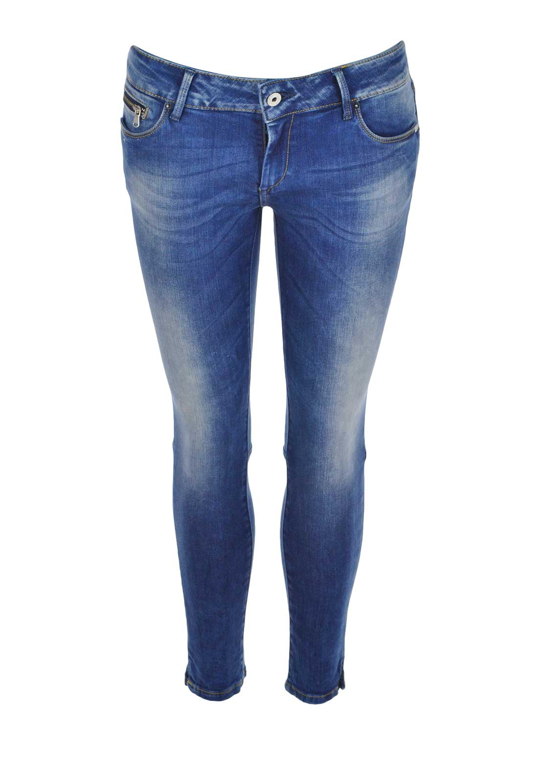 Tiffosi Womens Kate Faded Skinny Cropped Jeans, Blue Denim