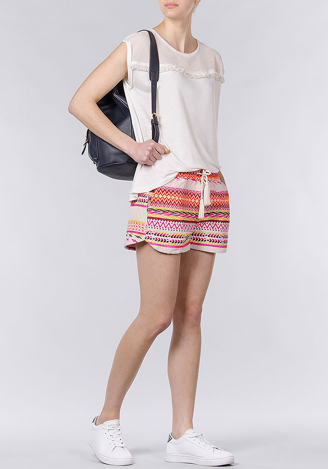 Tiffosi Womens Lampard Aztec Embroidered Canvas Shorts, Multi-Coloured