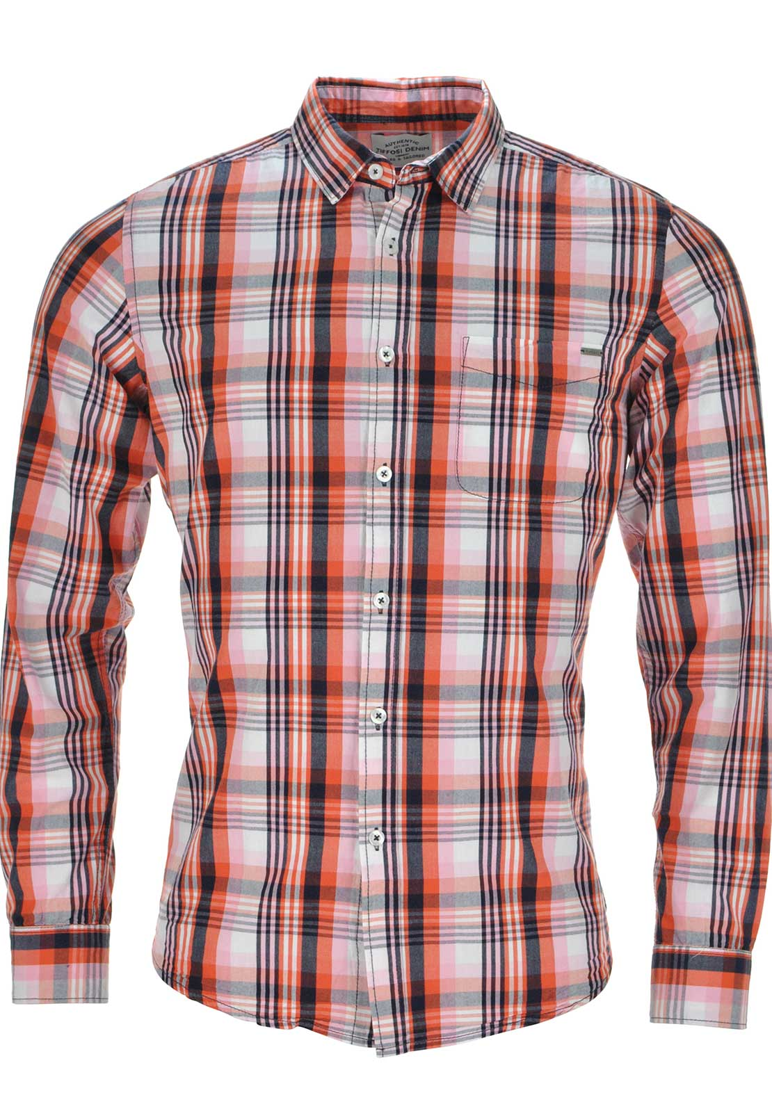 Tiffosi Mens Long Sleeved Checked Shirt, Orange