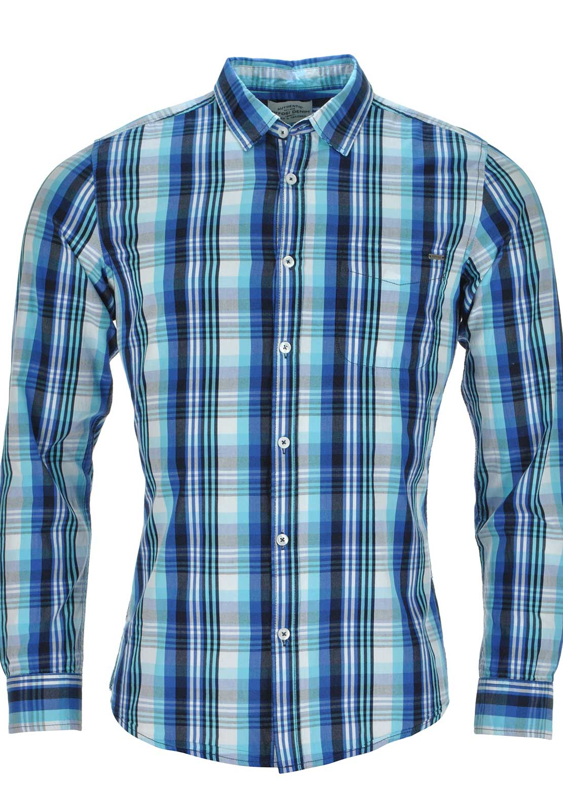 Tiffosi Mens Long Sleeved Checked Shirt, Blue