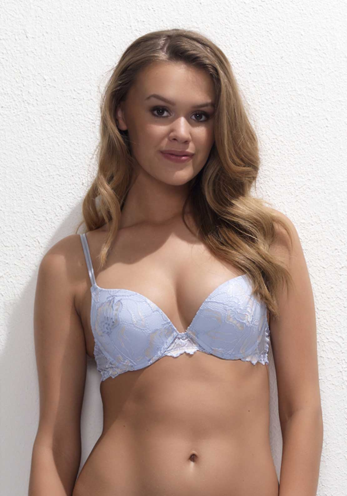 After Eden Anna Lace Single Gel Bra, Pale Blue