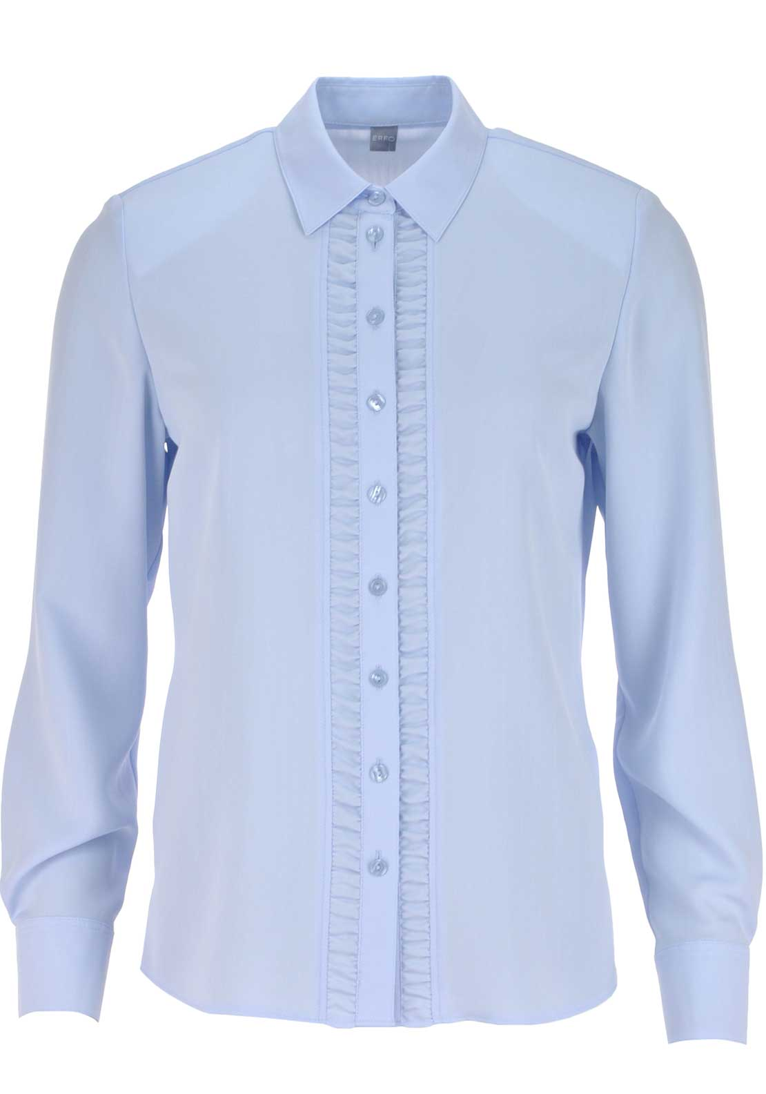 ERFO Ruffle Long Sleeve Blouse, Pale Blue
