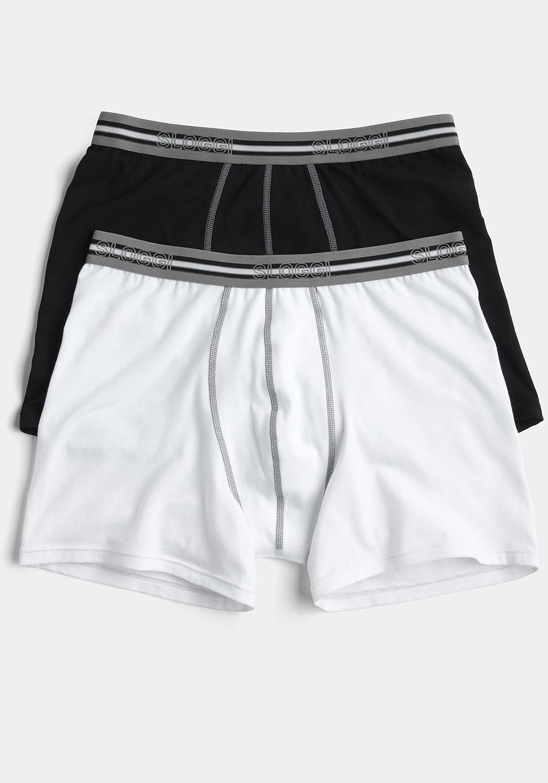 Sloggi Sports Match Short Two Pack, White and Black