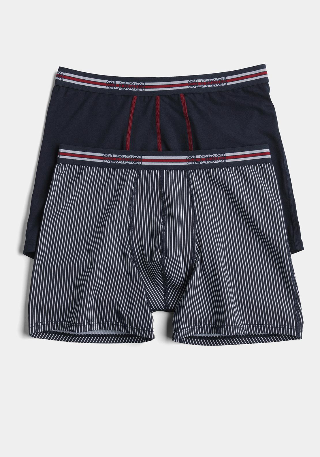 Sloggi Sports Match Short Two Pack, Navy and Stripe