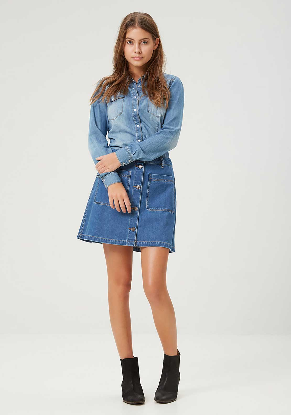 Vero Moda Grace Button Aline Denim Skirt, Dark Blue Denim