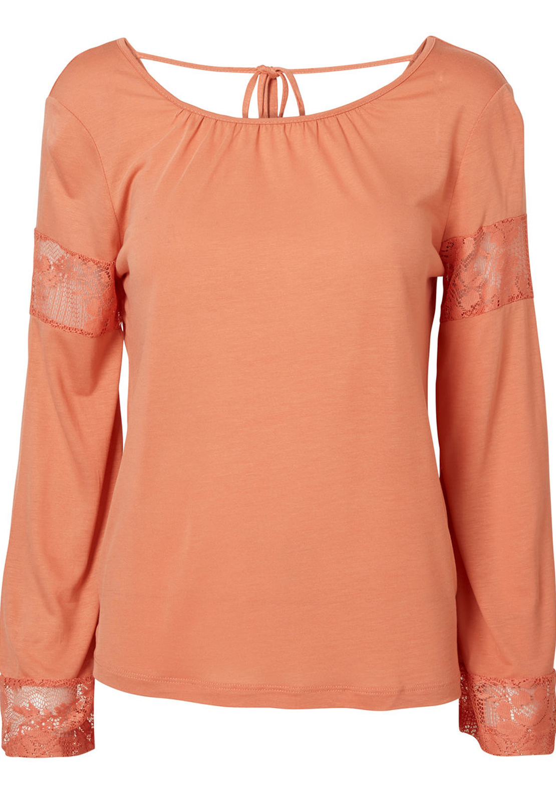 Vero Moda Cathrina Lace Trim Long Sleeve Top, Crabapple