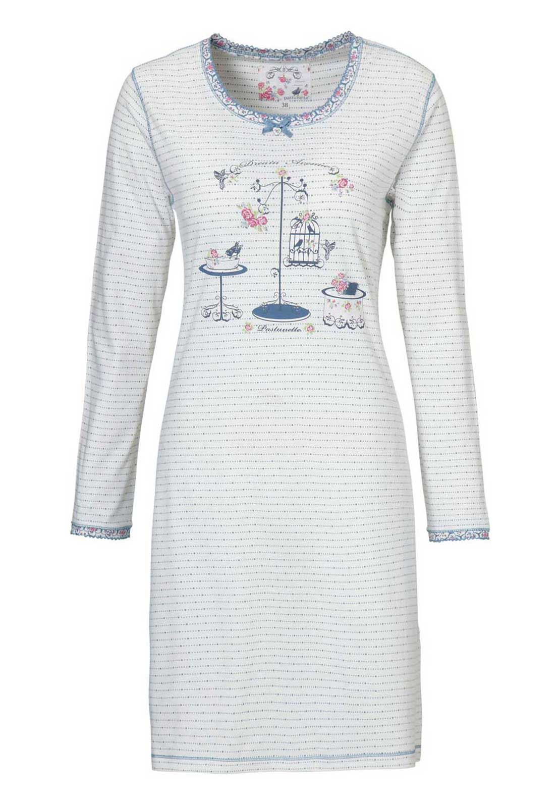 Pastunette Striped Birdcage Print Long Sleeve Nightdress, White Multi