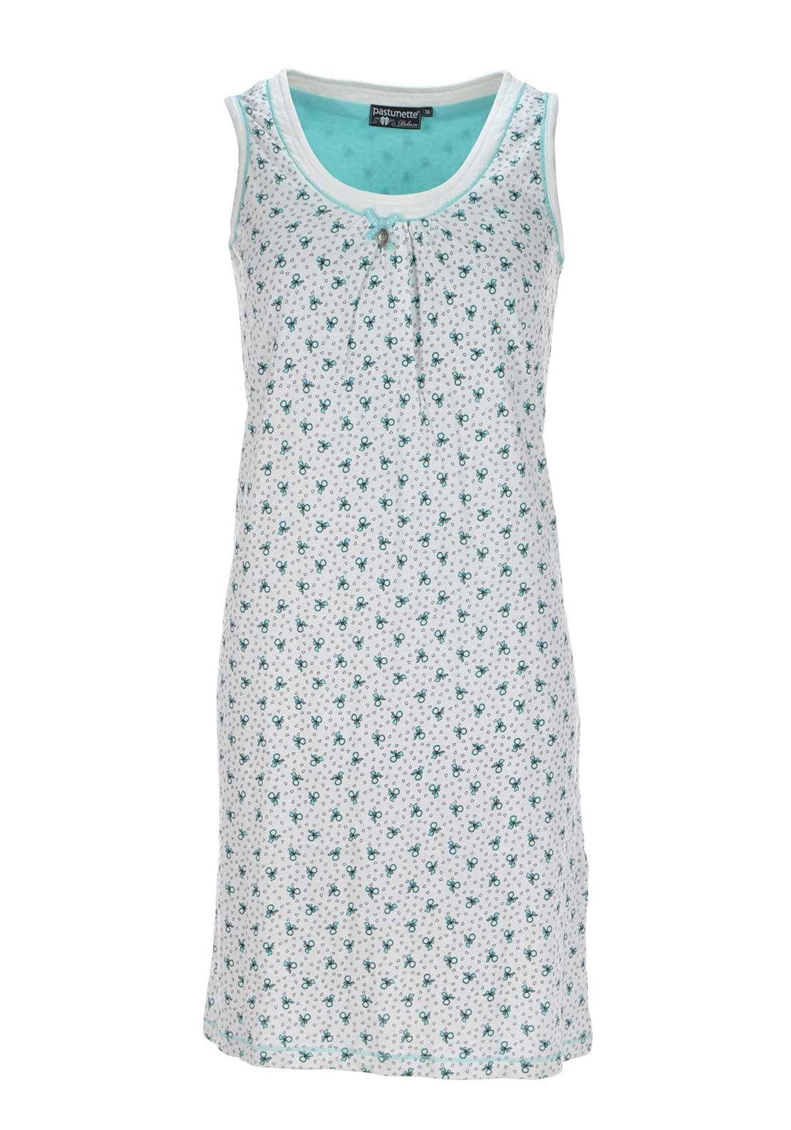 Pastunette Bow Print Sleeveless Nightdress, Cream Multi