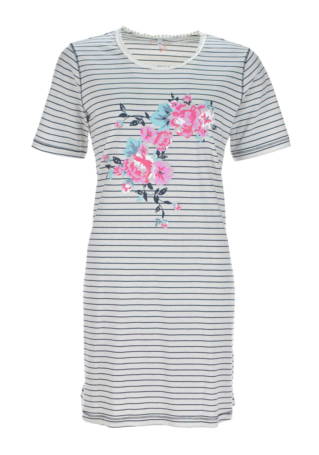 Pastunette Graphic Floral Print Striped Night Dress, Cream Multi