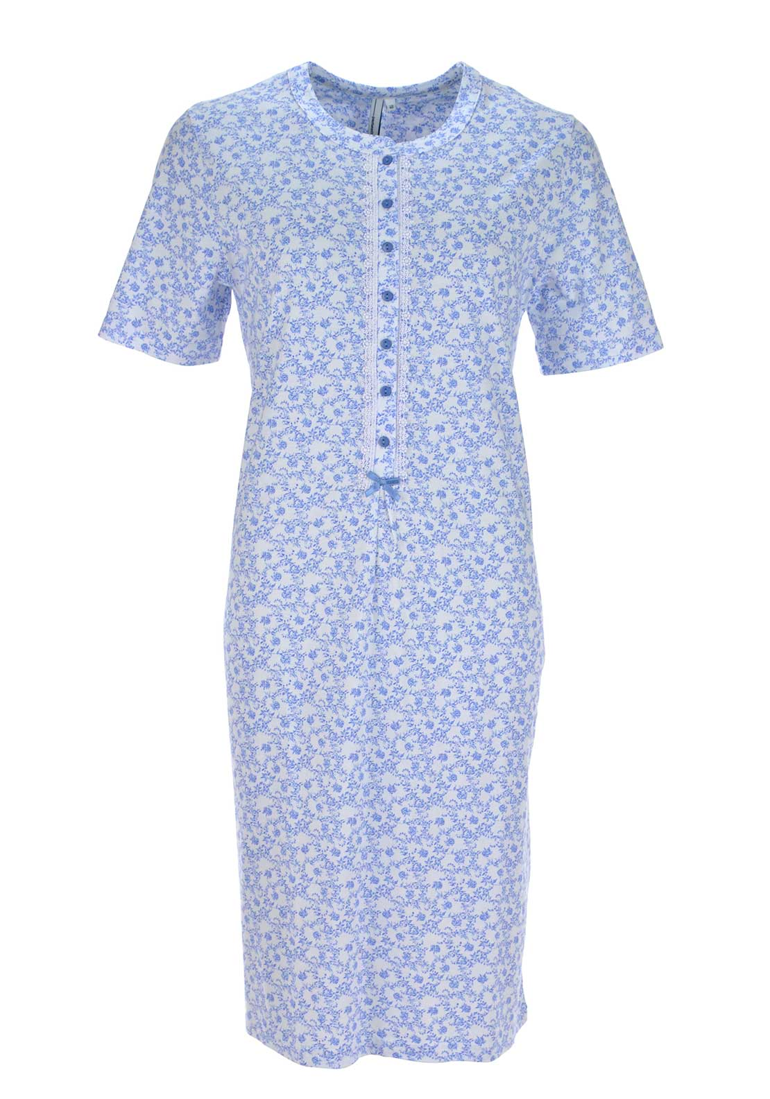 Pastunette Vintage Floral Print Night Dress, Blue and White