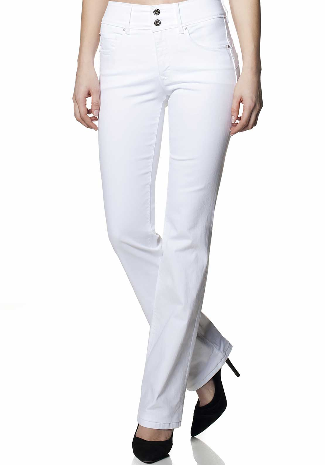 Salsa Secret Push in Boot Leg Jeans, White