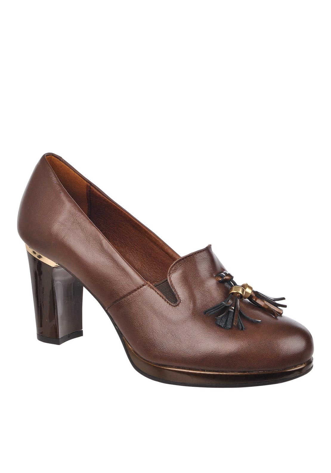 Pitillos Tassle Leather Block Heel Shoe, Mocha