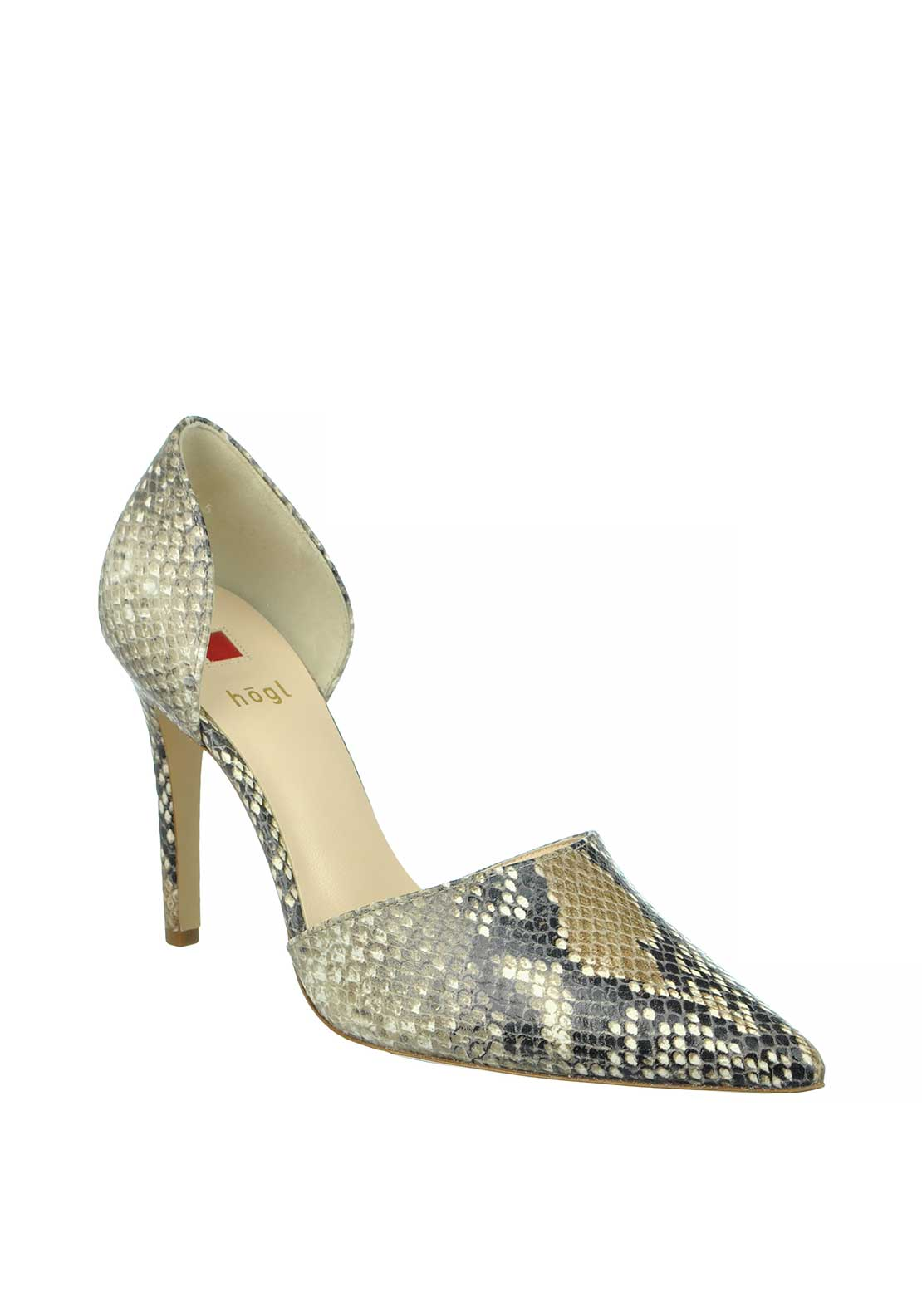 Hogl Leather Reptile Print Pointed Cut Out Heeled Court Shoes, Taupe