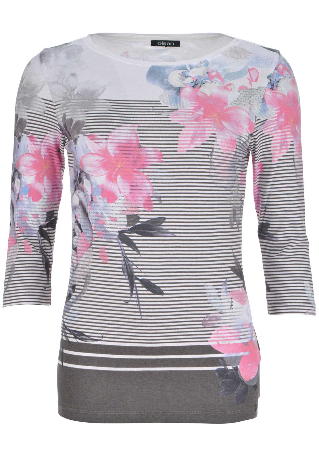 Olsen Floral and Striped Print Cropped Sleeve Top, Multi-Coloured
