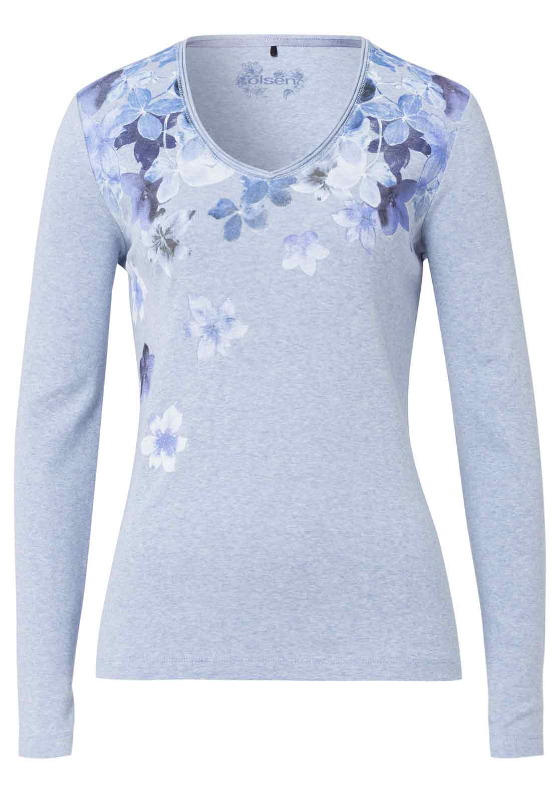 Olsen Floral Print Long Sleeve T-Shirt, Pale Blue