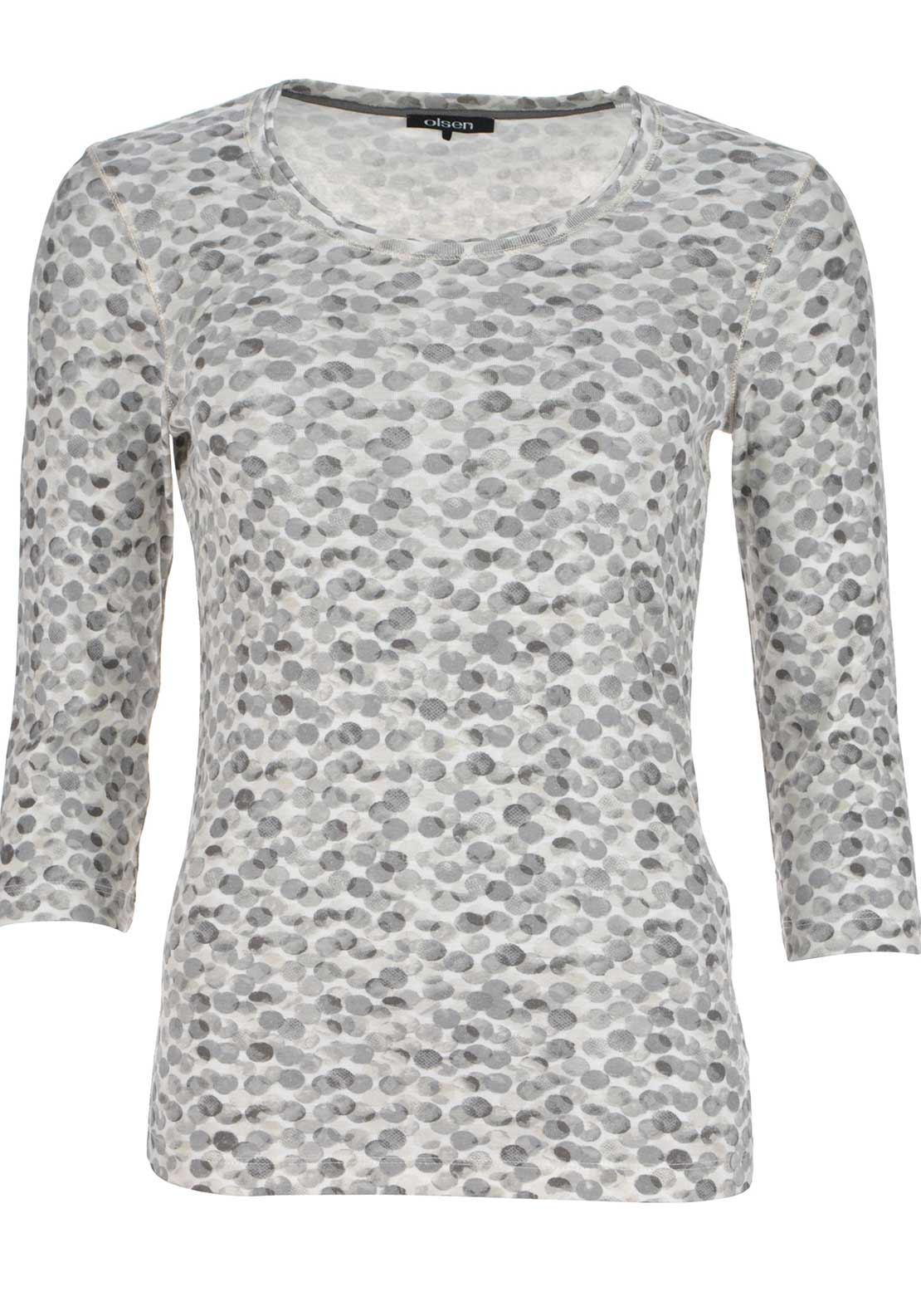 Olsen Circle Print Cropped Sleeve Top, Grey
