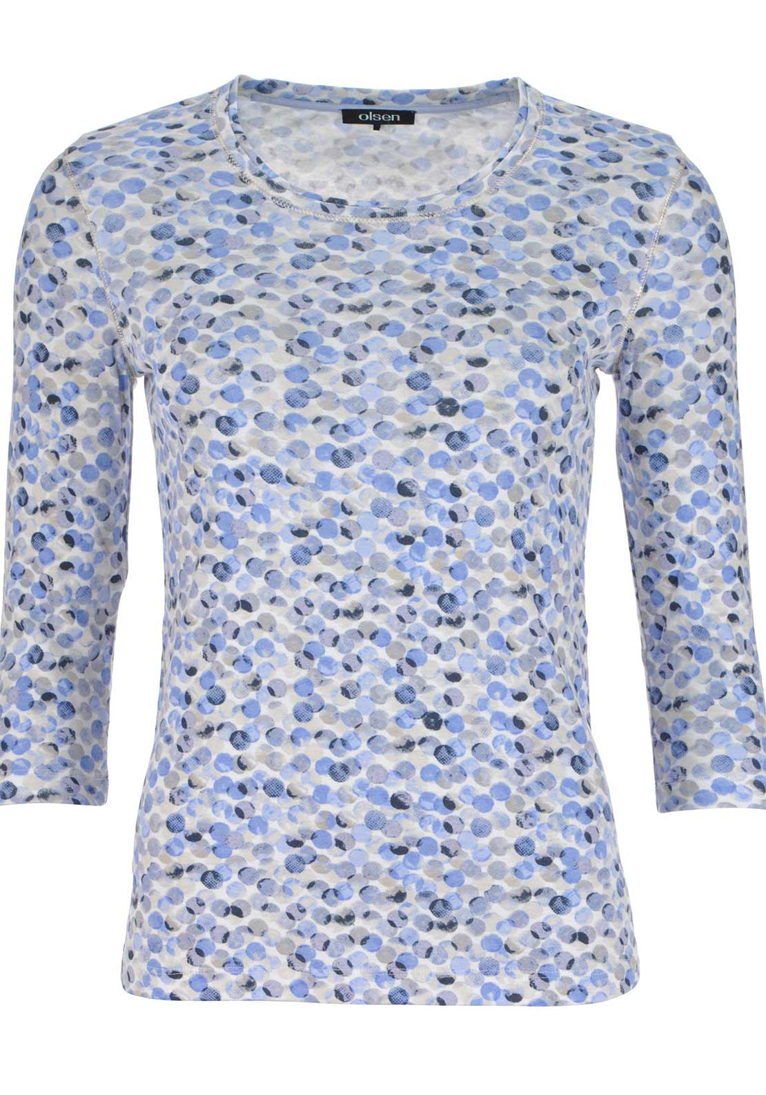 Olsen Circle Print Cropped Sleeve Top, Blue