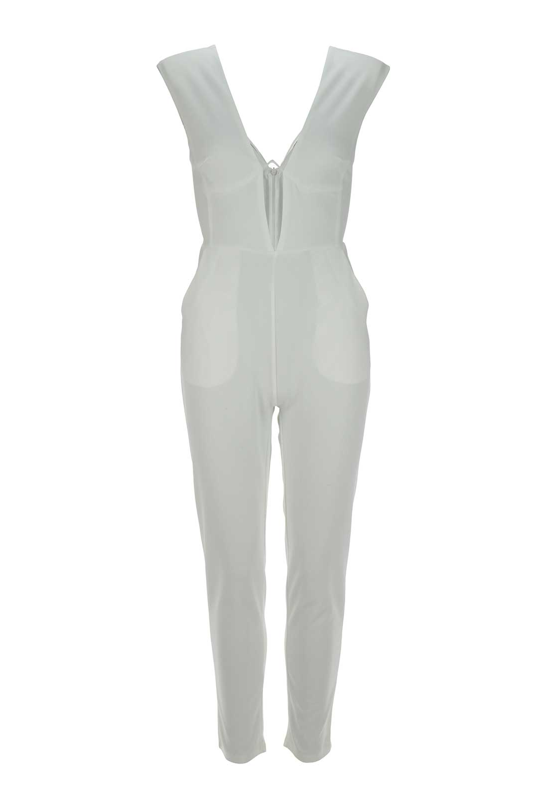 Boutique Sleeveless Plunge Neck Jumpsuit, White