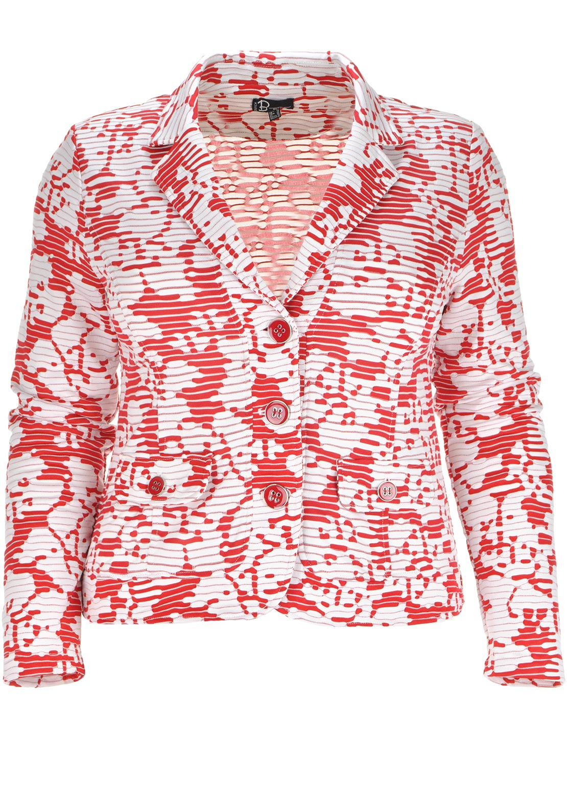 Dutch B by Oscar Digital Print Jersey Blazer Jacket, Red and White