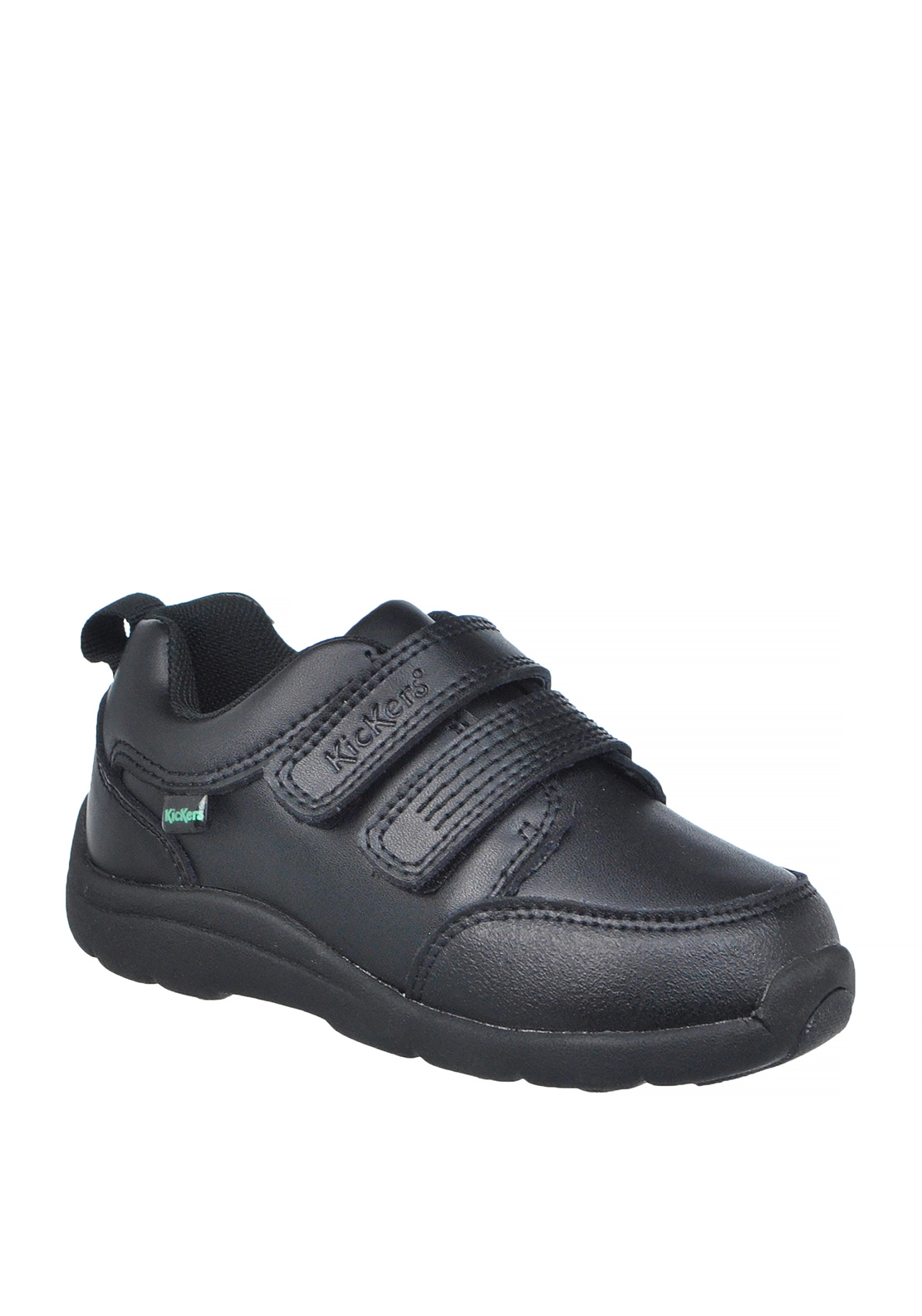 Kickers Boys Velcro Strap Leather Coated Shoe, Black