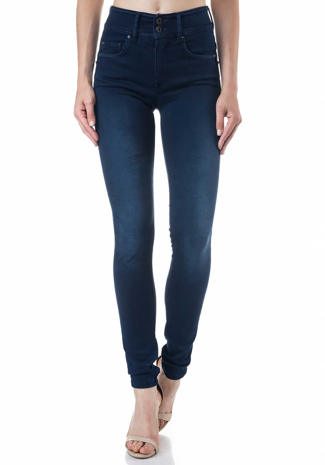 Salsa Secret High Waist Push In Skinny Leg Soft Touch Jeans, Dark Blue Denim