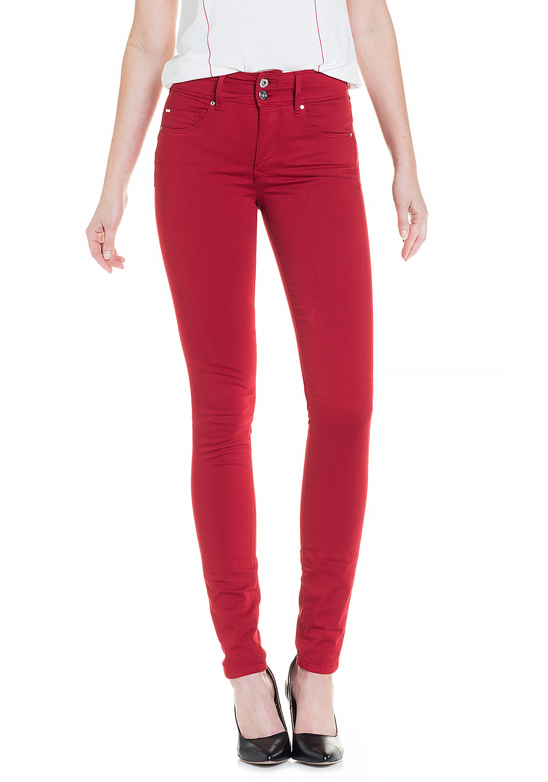Salsa Secret High Waist Push In Skinny Jeans, Red