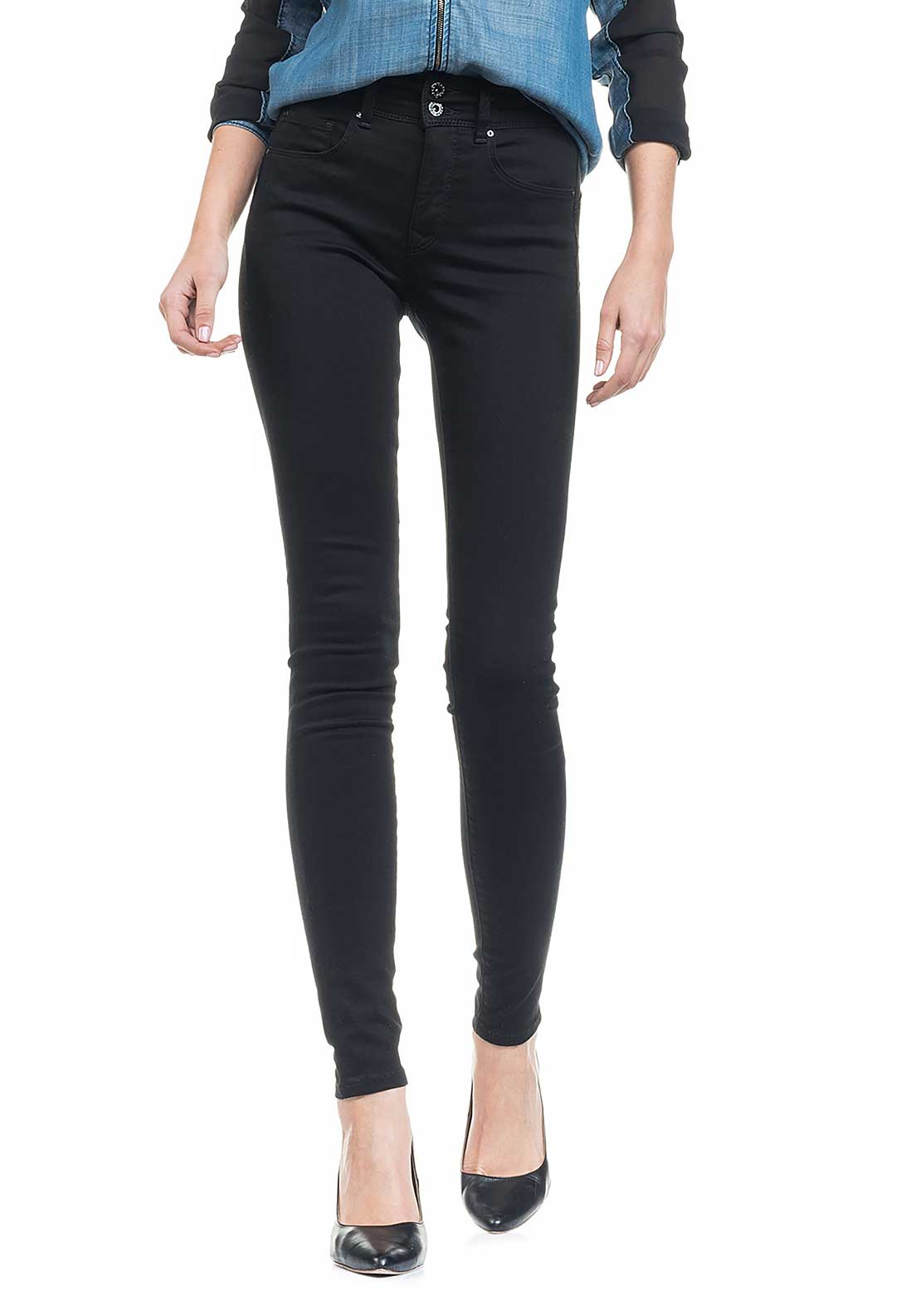 Salsa Secret Push In High Waist Skinny Jeans, Black
