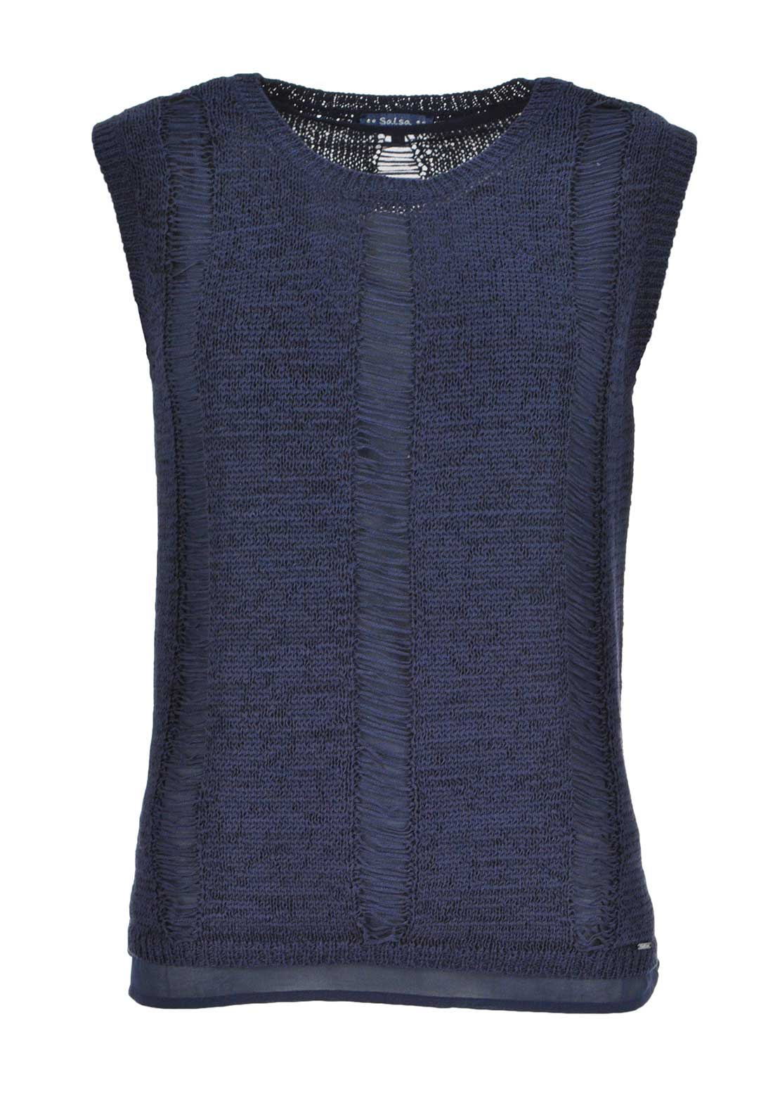 Salsa Meadow Lakes Sleeveless Knitted Top, Navy