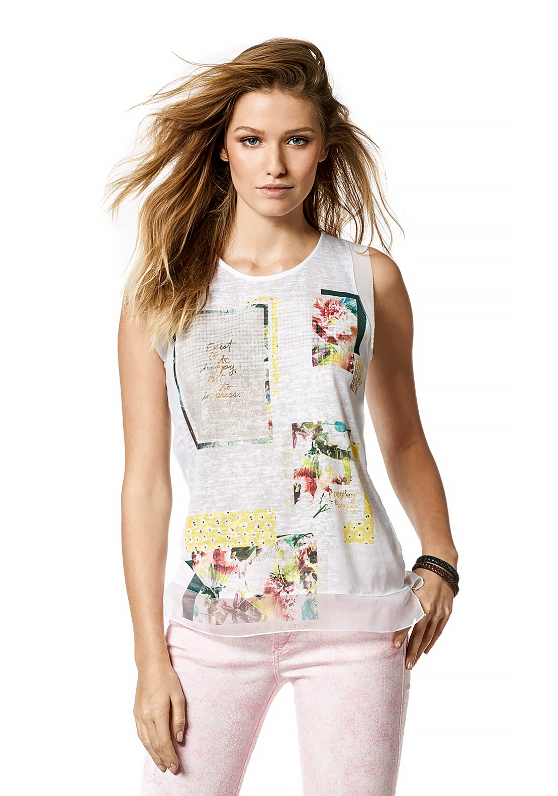 Salsa Palm Bay Sleeveless Printed Squares Top, White