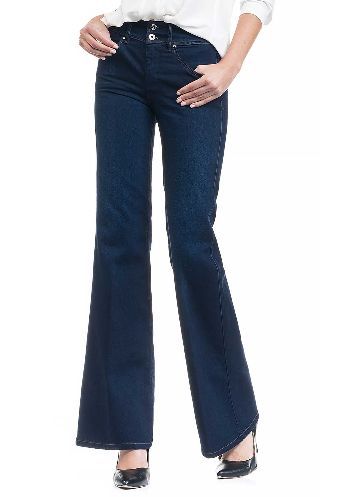 Salsa Secret Push In High Waist Flare Leg Jeans, Dark Blue Denim