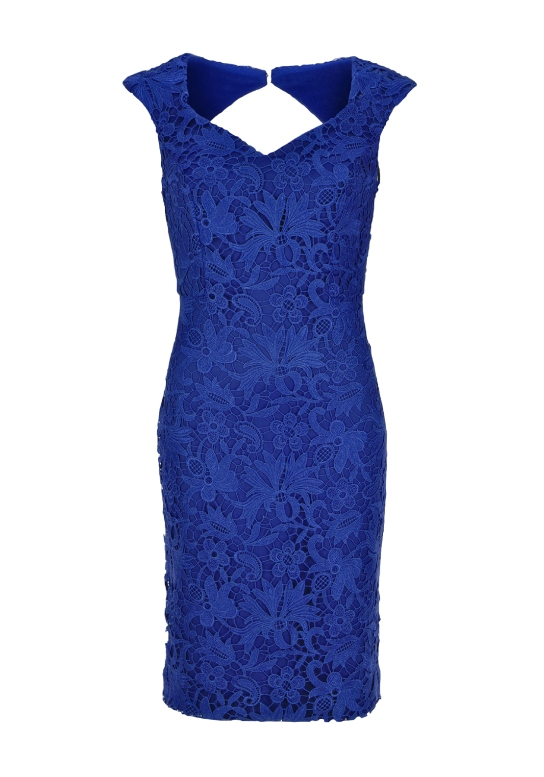 Sonia Pena Guipure Lace Overlay Pencil Dress with Shawl, Royal Blue