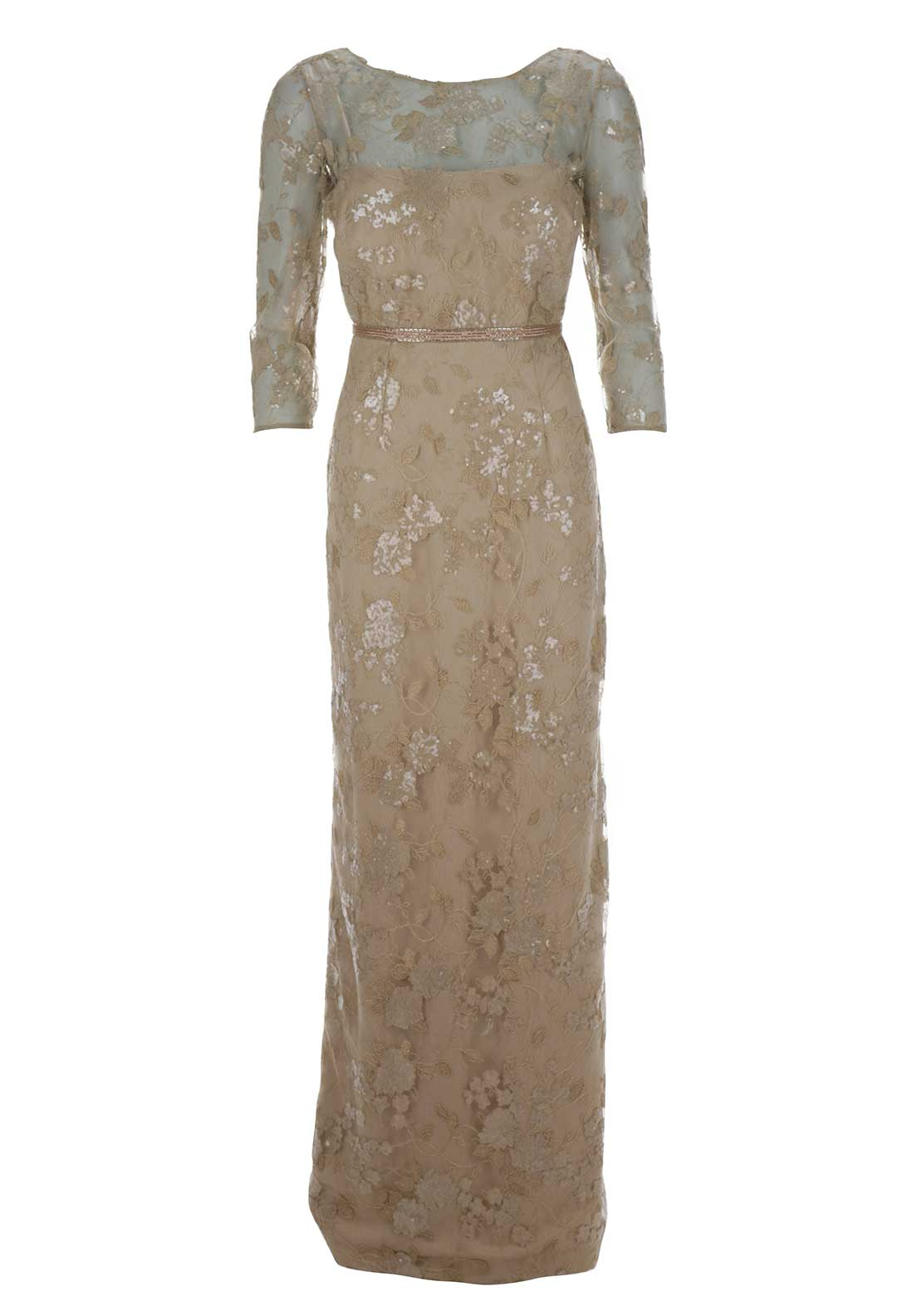 Sonia Pena Embroidered Overlay Cropped Sleeve Full Length Dress, Gold