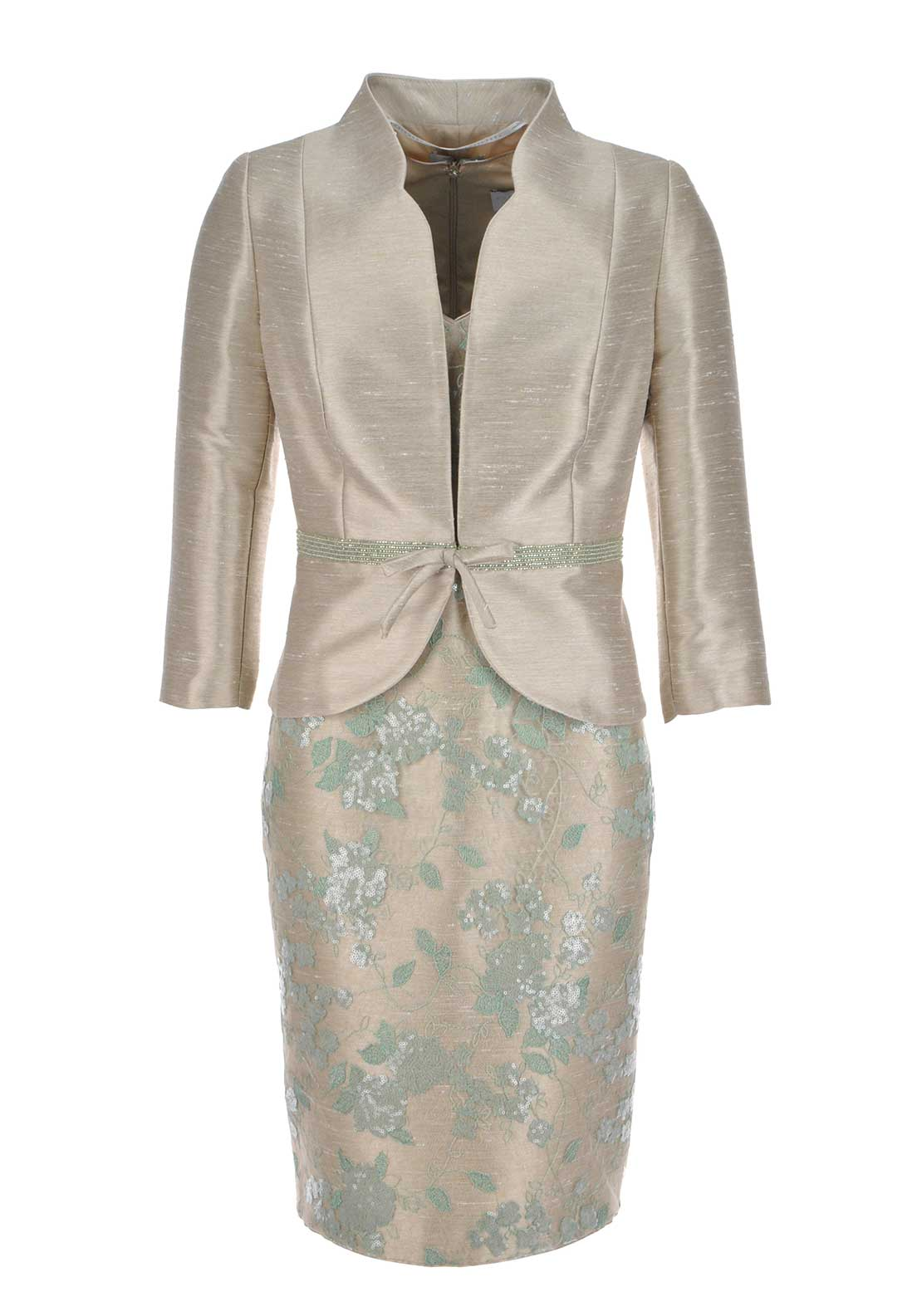 Sonia Pena Faux Raw Silk Sequin Embellished Dress and Jacket, Champagne