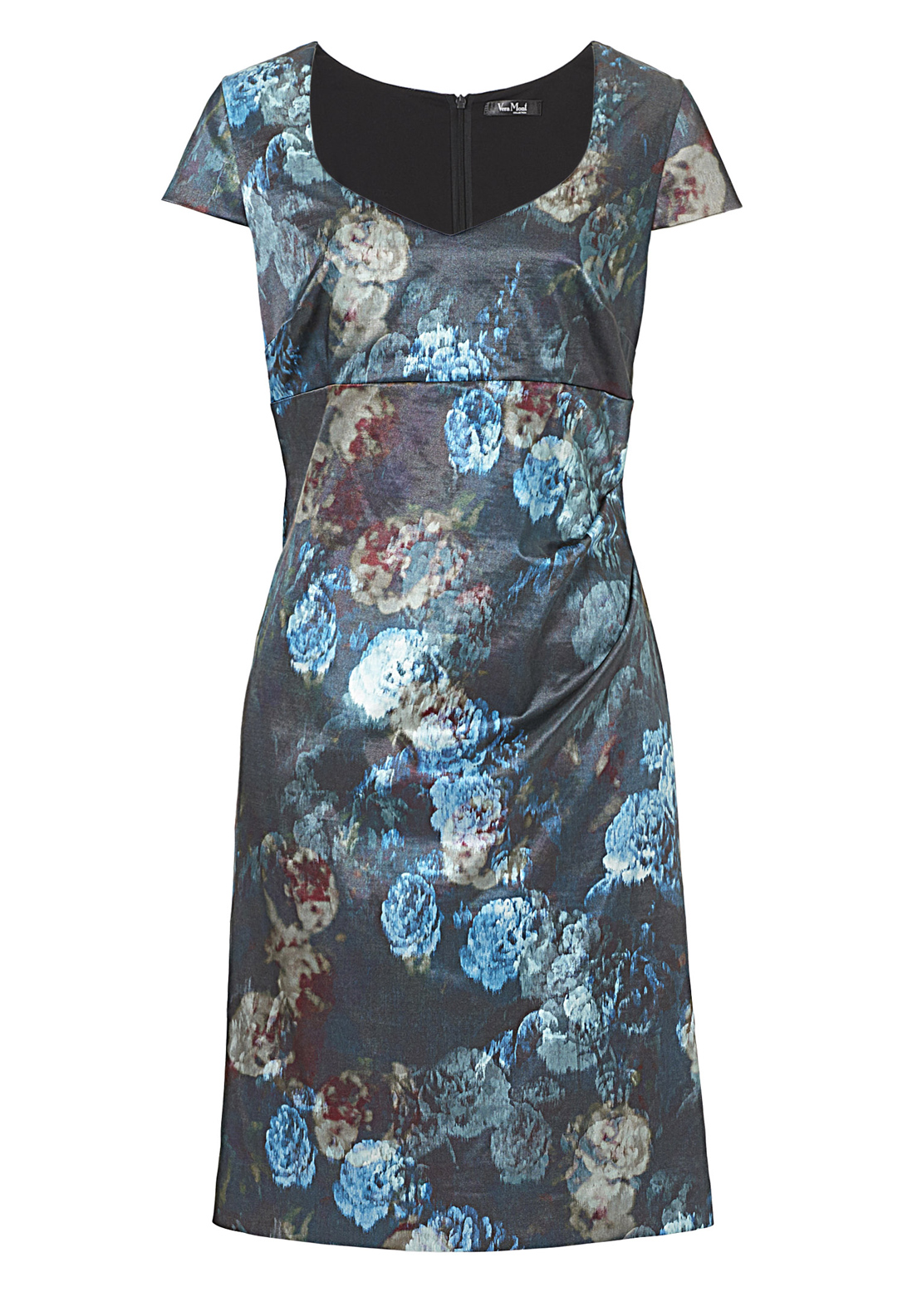 Vera Mont Floral Print Short Sleeve Dress, Blue Multi