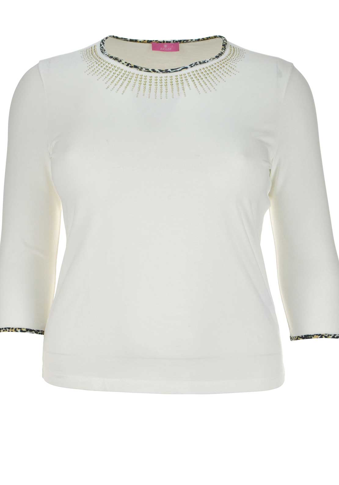Basler Embellished Leopard Print Trim Cropped Sleeve Top, White
