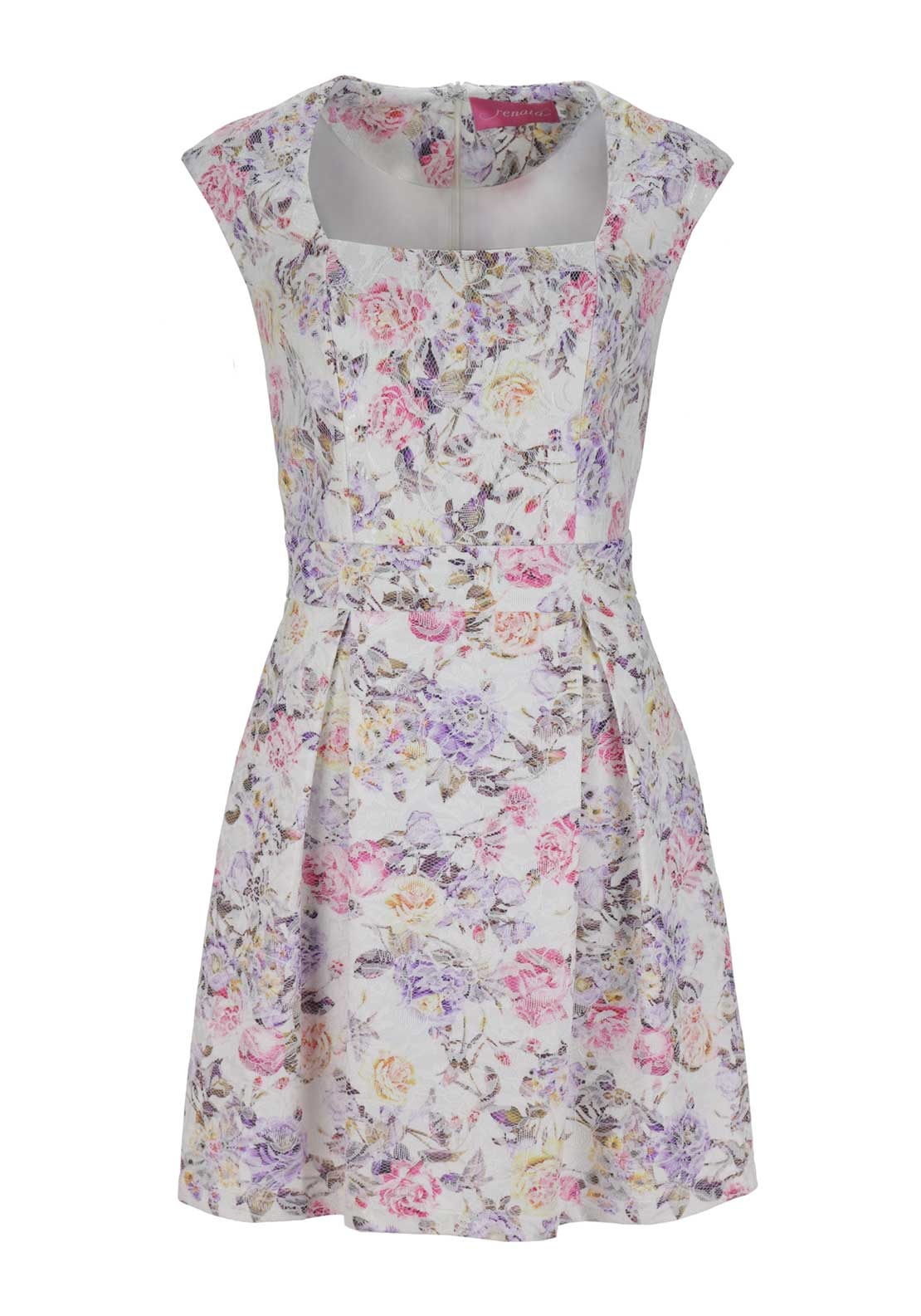 Renata Floral Print Lace Overlay Fit and Flare Dress, White Multi
