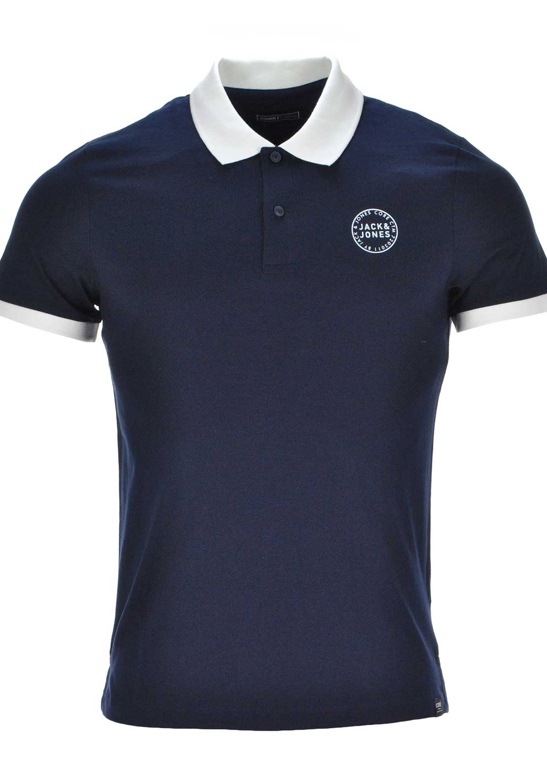 Jack & Jones Core Sure Short Sleeve Polo Shirt, Navy Blazer