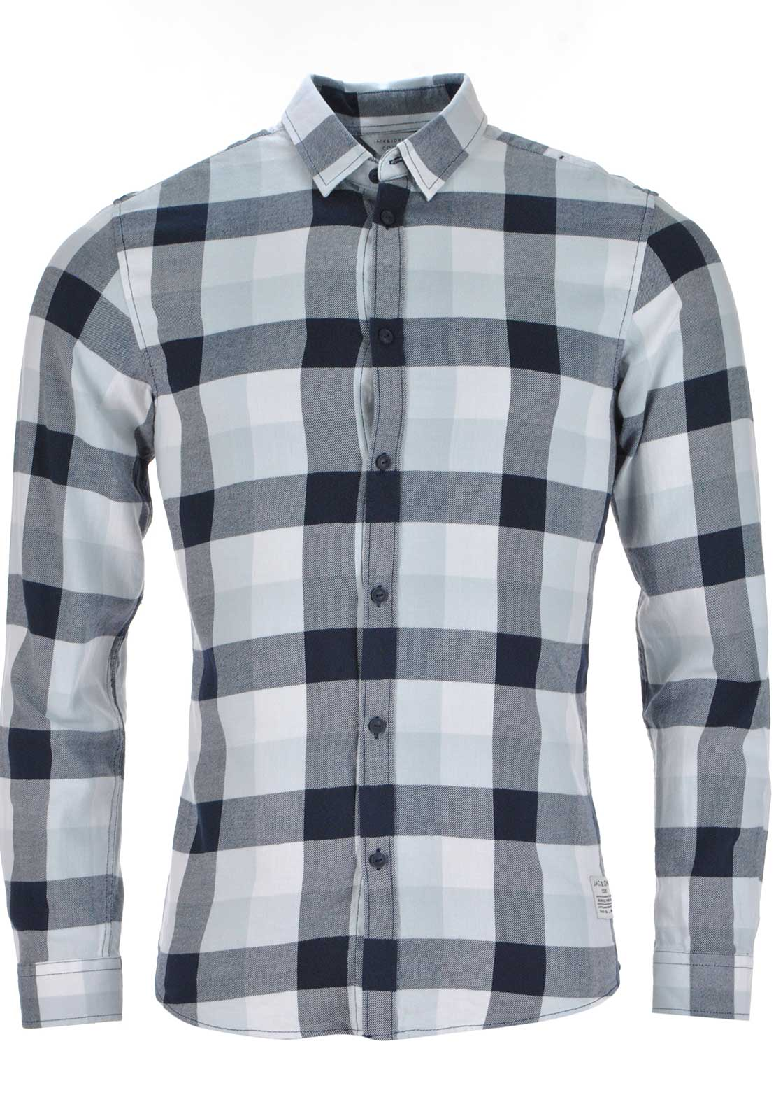 Jack & Jones Gavin Checked Long Sleeve Shirt, Grey Dawn