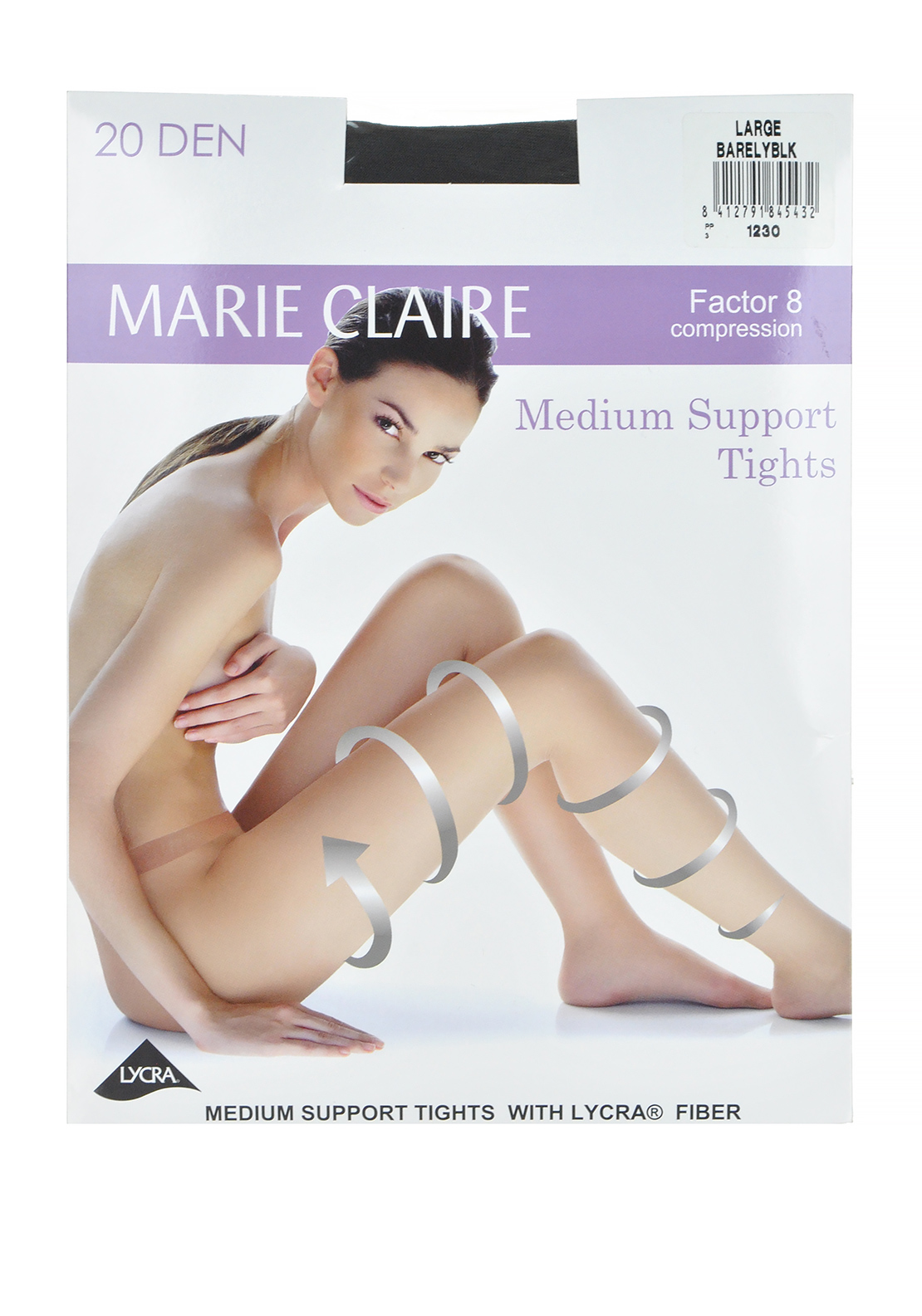 Marie Claire 20 Denier Medium Support Tights, Barely Black