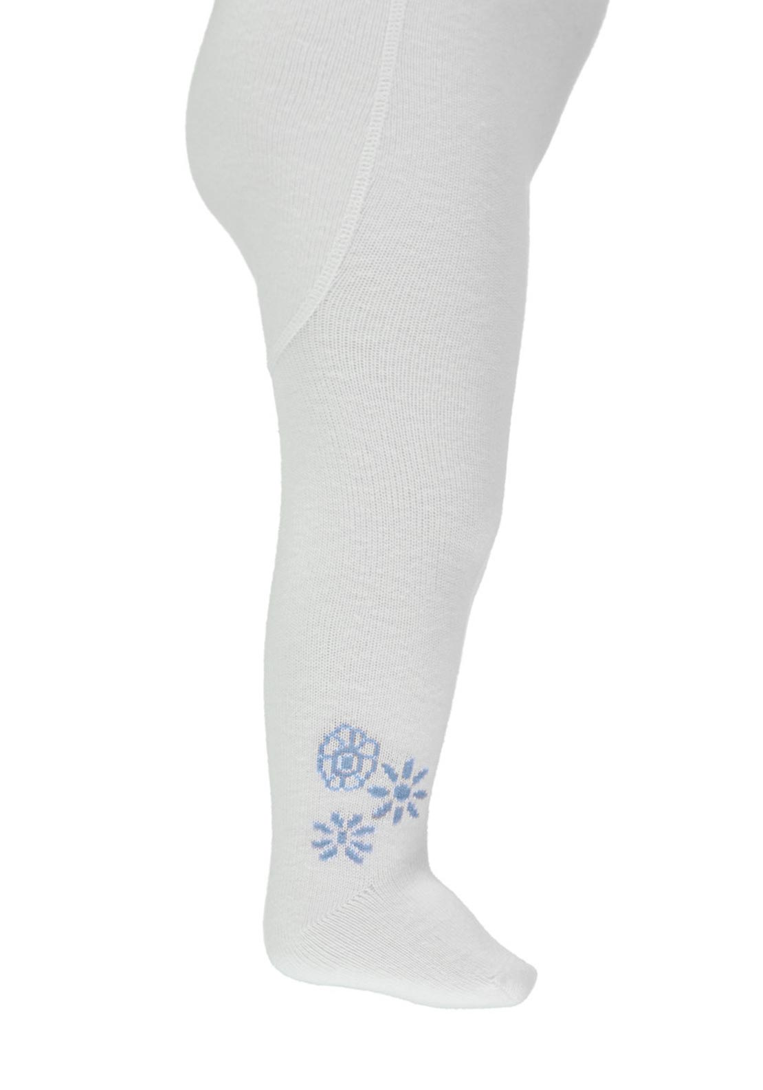 Name It Baby Girls Flower Print Tights, Cashmere Blue
