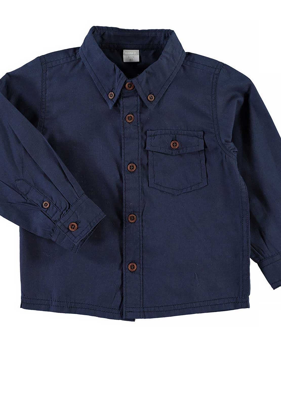 Name It Mini Boys Cenzo Plain Shirt, Dress Blues