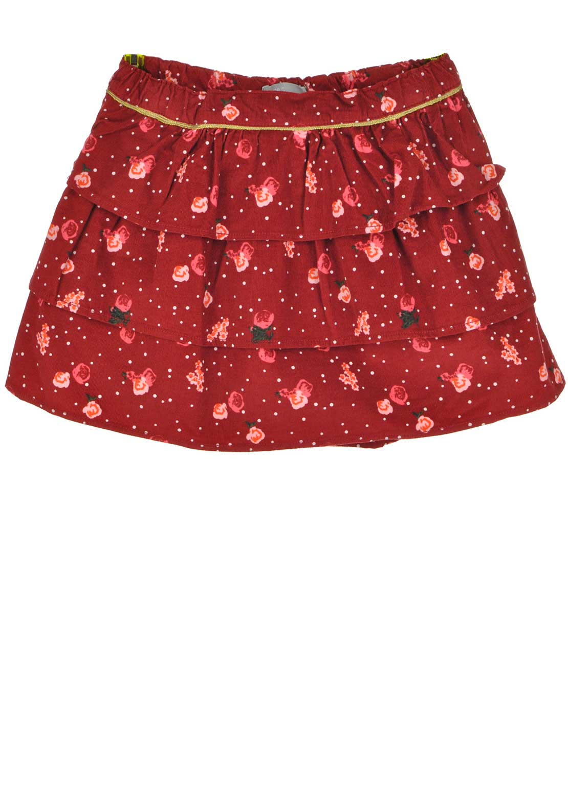 Name It Girls Sally Cord Floral Layered Skirt, Jester Red